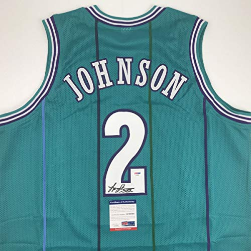 (Autographed/Signed Larry Johnson Charlotte Teal Basketball Jersey PSA/DNA COA )