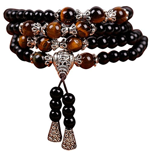 6mm Natural Obsidian Tiger Eye Beads Elastic Mala Yoga Handmade Necklace Bracelet (Obsidian Tiger Eye 2)