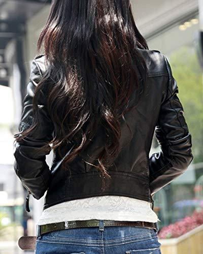 Giacca Con Cerniera Blazer Da Lunga Outwear Manica Biker Nero Donna Slim USwxOqAI5x