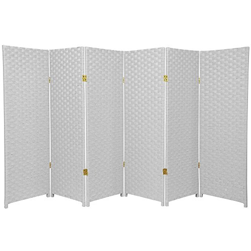 Oriental Furniture 4 ft. Tall Woven Fiber Room Divider - White - 6 Panel ()