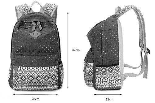 Panegy Damen Mädchen Mode Design Drucken Punkt Canvas Schulrucksack Laptop Reisen Rucksack für Freizeit Camping Picknick Außflug Sports Backpack - Himmelblau Khaki