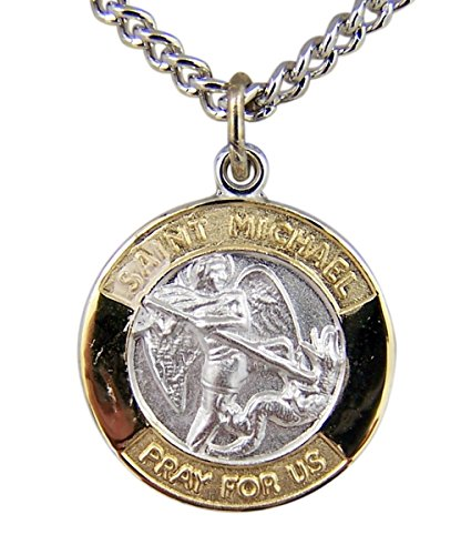Gold and Sterling Silver Tu-Toned Archangel Saint Michael Medal Pendant, 5/8 (Dia Gold Pendant)
