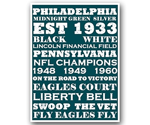 Philly Eagles Poster Subway Style Art Football NFL Print