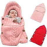 Colorful Newborn Baby Wrap Swaddle Blanket, Oenbopo Baby Kids Toddler Knit Blanket Swaddle Sleeping Bag Sleep Sack Stroller Wrap for 0-12 Month Baby (Pink)