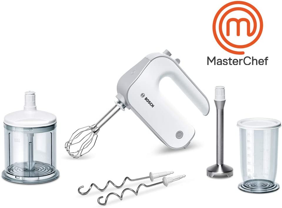 Bosch MFQ4080 Batidora amasadora con set de accesorios de repostería, 500 W, 5 Velocidades, Blanco: Bosch: Amazon.es: Hogar