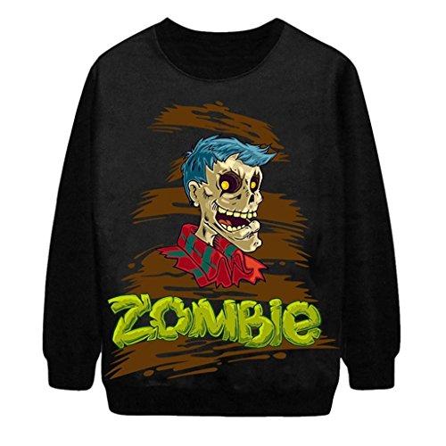 Tobyak Women's Round Neck Halloween Topic Print Patchwork Sweater Sweatshirts Black5X-Large -