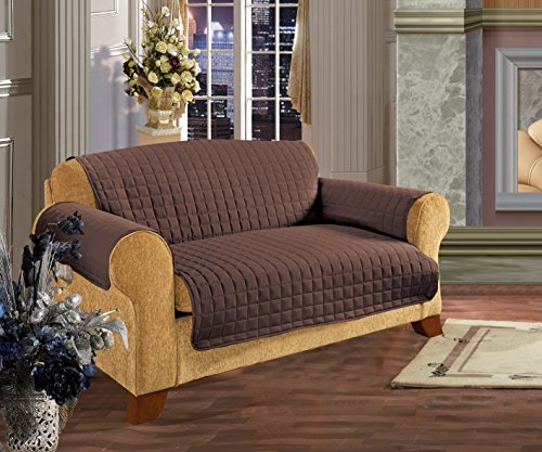 Elegance Linen Quilted Slip Cover Water-Absorbent Furniture Protector for Love Seat, Chocolate