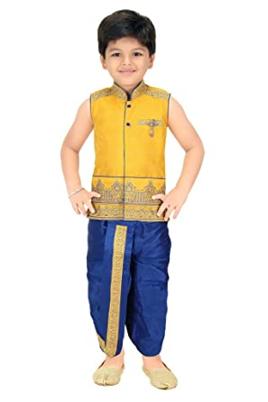 199f26325 Kute Kids Baby Boys Blended Dhoti Kurta Set (Yellow