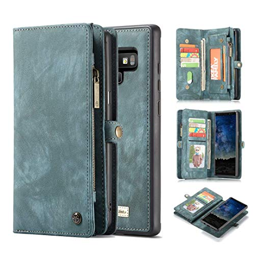 KONKY Caseme Samsung Galaxy Note 9 Wallet Case, Magnetic Detachable Removable Phone Cover Pouch Folio Durable Leather Purse Flip Card Pockets Holder Bag Smooth Zipper (Samsung Galaxy Note 9, Blue)