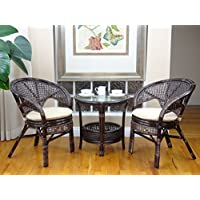 Pelangi Rattan Wicker 3 Pieces Set of 2 Chairs W/cushions and Round Coffee Table W/glass Dark Brown Color