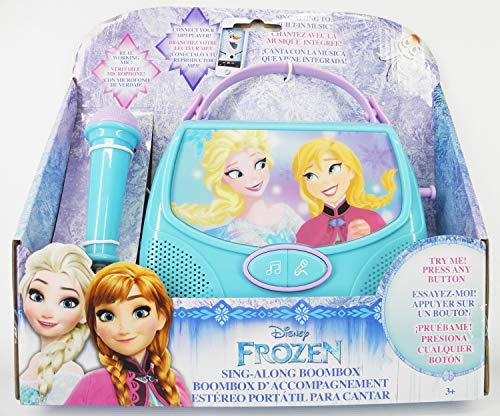 tech 2go Disney Frozen Sing Along Boombox Real Working Mic Connect Your MP3 (Mp3 Player For Kids Frozen)