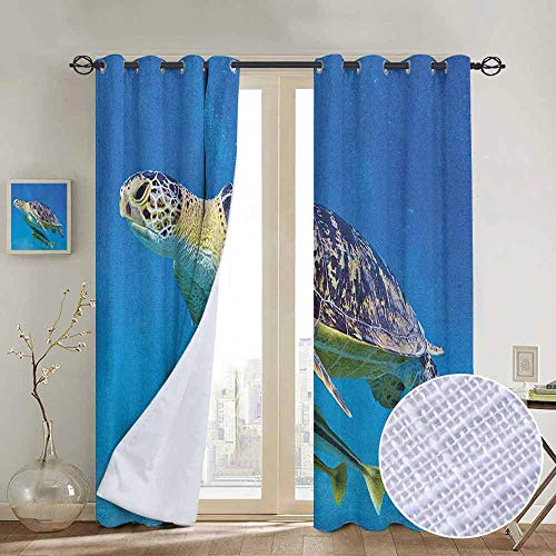 NUOMANAN Window Blackout Curtains Turtle,Cute Angry Looking Sea Turtle Swimming with Remora Fishes Fauna Under The Sea, Blue Yellow Brown,for Room Darkening Panels for Living Room, Bedroom 100