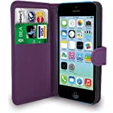 Apple iPhone 5C Dark Purple Leather Wallet Flip Case Cover Pouch + Screen Protector & Polishing Cloth