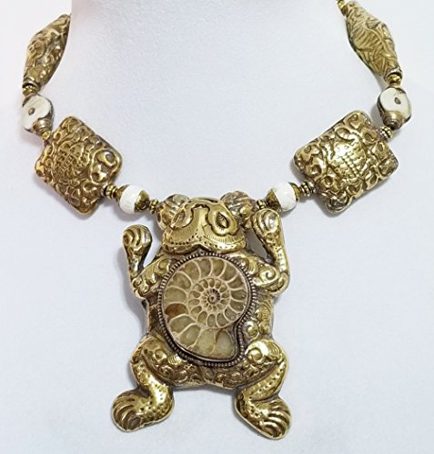 Big Nepal Brass Frog Pendant Ammonite Fossil Nepal Conch Shell Gemstone Beads Necklace Earrings One of a Kind