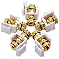 Cable Matters (5-Pack) Banana Jack Binding Post Keystone Jack Inserts with Black Ring in White