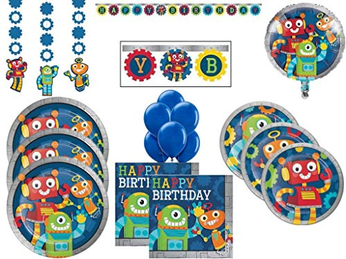 Kids' Birthday Party Robots Theme Party Supplies Pack Includes Plates Napkins and Decorations for 24 Guests ()