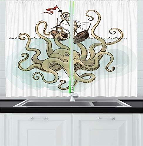 Red Vow Kraken Decor Kitchen Curtain