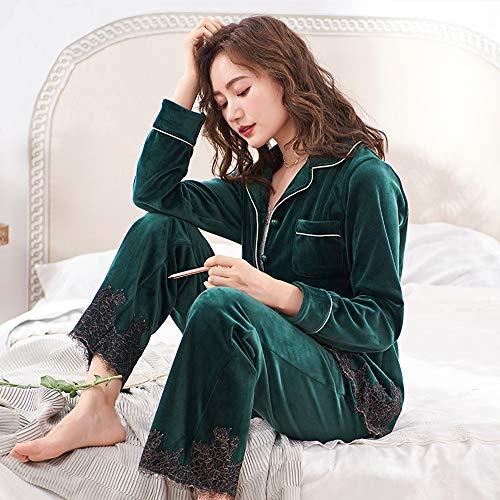 Hogar Para Cómoda Pijamas Oscuro Tamaño Invierno Liruipengsy Informal Mujer De Traje L Pijamas Paste Bean color Empalme Gwdj Ropa Suave Color Mantener Verde Gruesa El Calor Encaje Amigable Piel 6n44OWxz