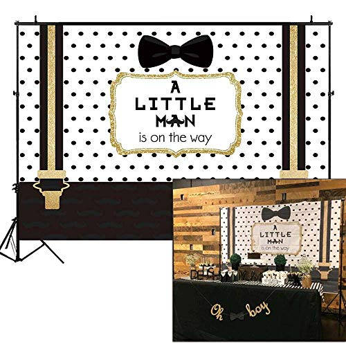 Funnytree 7X5ft Black and Gold Little Man Baby Shower Backdrop Boy Bow Tie Gentleman Party Background Mustache Polka Dots Photography Photo Booth Cake Table -