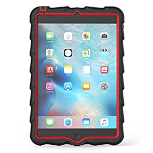 Gumdrop Cases Droptech for Apple iPad Mini 4 (Late 2015) A1538 A1550 Rugged Tablet Case Shock Absorbing Cover, Black / Red