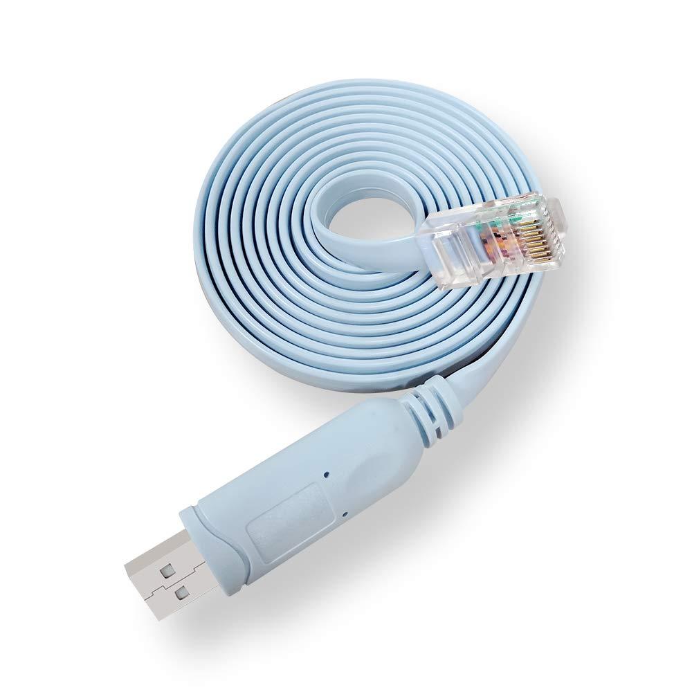 USB Console Cable, Boreguse USB to RJ45 Cisco Console Cable for Cisco Routers/AP Router/Switch/Windows 7, 8, 10 (1.8m, Blue)