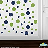 Set of 30 - Lime Green / Navy Blue Circles Polka Dots Vinyl Wall Graphic Decals Stickers by Decal Venue