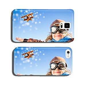 Happy kid playing with toy airplane in winter cell phone cover case iPhone6 Plus