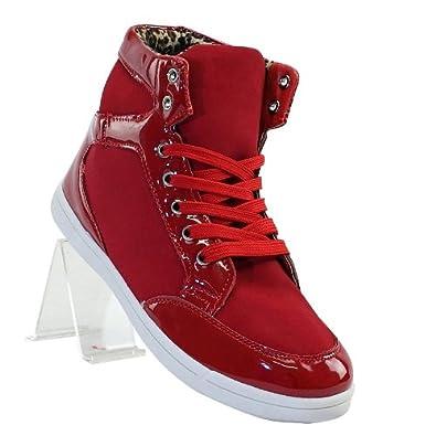 Sneaker Damen 42 High Stylischer Elementen Super Rot Mit Lack A7qaF1