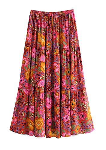 3206a2a05e404 R.Vivimos Womens Summer Cotton Vintage Floral Print Boho Casual Long Skirt ( Small, Deep Red)