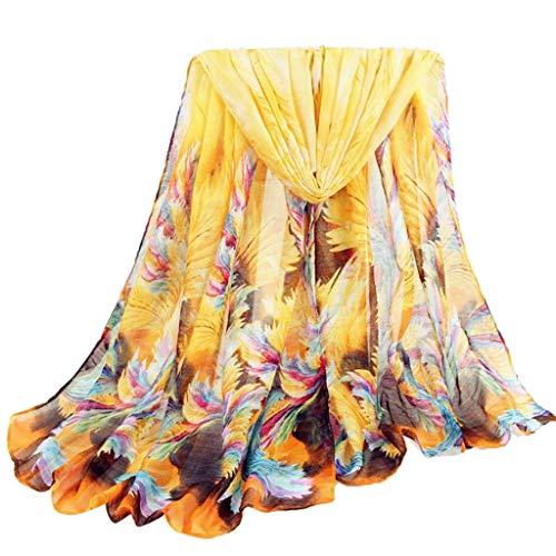 Jonecal Women Fashion Scarf Feathers Print Long Soft Wrap Shawl Cape Beach Sunscreen Stole (Yellow)