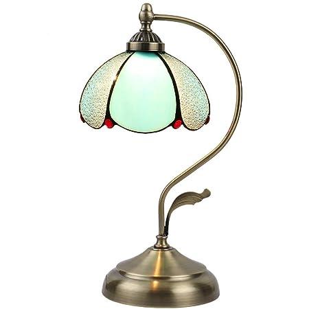 SXFYWYM Lámpara de Mesa LED Vidrio Tiffany Estilo Hierro Arte para ...