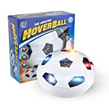 tech rc Hover Ball Air Soccer with LED Light Foam Bumpers Ball Disc Toy Training Football for Indoor and Outdoor with Parents Game - White