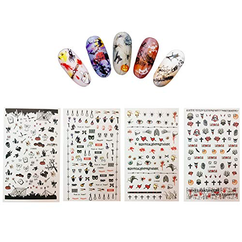 Halloween Nail Decals Tip Nail Art Stickers Self-adhesive Nail Decoration for Manicure DIY or Nail Salon 4 Sheet (gold 02)