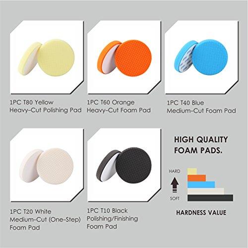SPTA 5Pcs 7''/180mm Compound Buffing Sponge Pads Polishing Pads Kit Buffing Pad For Car Buffer Polisher Sanding,Polishing, Waxing by SPTA (Image #3)