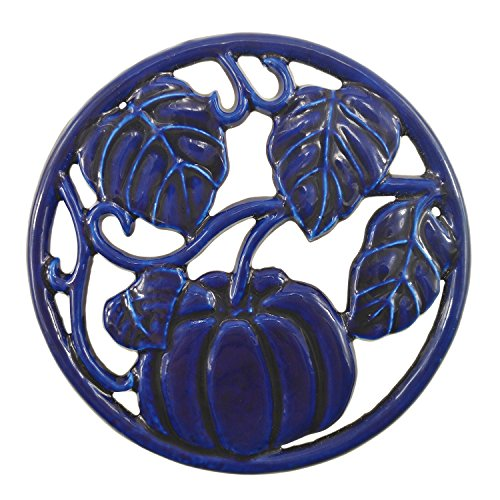 ROYAL KASITE Cast Iron Pumpkin Trivet,5.5-inch (Blue Cast Iron Trivet)