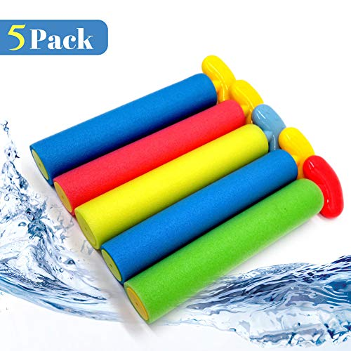 Super Soaker Water Guns, 5 Pack Squirt Guns Pool Toys with Long Range up to 30ft, Foam Water Blaster Perfect for Summer Outdoor Beach, Strong Stream Water Shooters for Toddler Kids Boys Girls Adults
