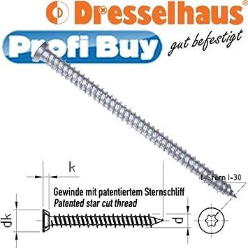 verzinkt JD Plus Fensterrahmenschrauben mit Senkkopf   Abmessung: 7,5 x 52mm VE = 100 St/ück f/ür Kunststoff-Profile galv