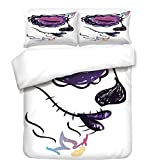 iPrint 3Pcs Duvet Cover Set,Day of The Dead Decor,Sugar Skull Girl Face with Make Up Hand Drawn Mexican Art,Purple Black and White,Best Bedding Gifts for Family/Friends