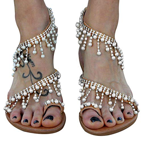 Xiakolaka Womens Sandals Flat,Beaded Toe Ring Casual Wedding Pearl Shoes Sliver2 36 ()