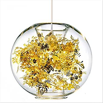 NEW Modern Metal Glass Pendant Light Stainless Steel Flower Pattern Ceiling Lamp Chandeliers