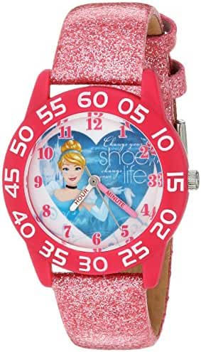 Disney Girl's 'Cinderella' Quartz Plastic Casual Watch, Color:Pink (Model: W003261)