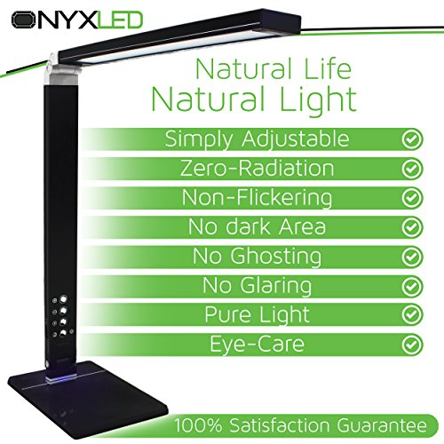 Schreibtischlampe LED 14W Moderne Lampe, verstellbar, mit einstellbarer Licht ONYXLED Schreibtisch. Perfekt für das Lesen, 3 Farbtemperaturen, 5 Stufen und USB-Ladeanschluss [Spina UK, Piano Black, glänzende Oberfläche]
