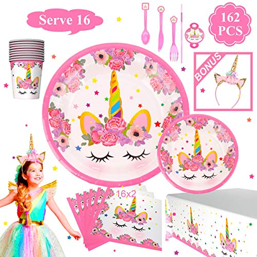 Unicorn Birthday Party Supplies Decorations - Magical Unicorn Birthday Party Supplies Serves 16 | Plates, Cups, Napkins, Tableware, Tablecloth, Headband, for Theme Birthday Party