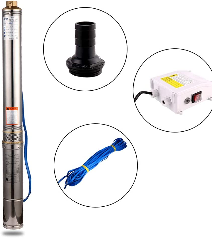 SHYLIYU Deep Well Pump 4OD Diameter Stainless Steel Submersible Bore Pump 2 Outlet Tube Water Pumps 220V-240V//50Hz 3.0hp Power Pump