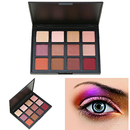 Makeup Glitter Eyeshadow Palette, AMBITO 12 Warm Colours Eyeshadow Palette Matte Smokey Eye Effect High-Pearl Powder Repair Capacity Shimmer and Matte Eye Shadow Palette - #1