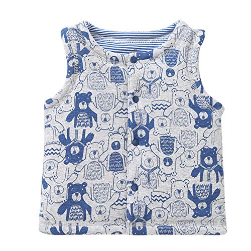 Esharing Happy Baby-Girls Boys Cotton Single Breasted Two Sides Wear Animal Pattern Vest Waistcoat Jackets (66(3-6 Months), Blue)