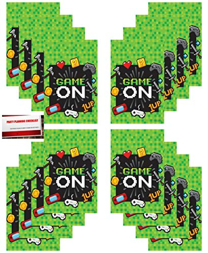 Gaming 16 Pack Video Gamer Party Plastic Loot Treat Candy Favor Bags (Plus Party Planning Checklist by Mikes Super Store)