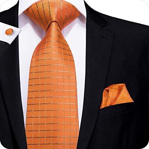 Hi-Tie Men Orange Check Plaid Tie Necktie with Cufflinks and Pocket Square Tie Set ()