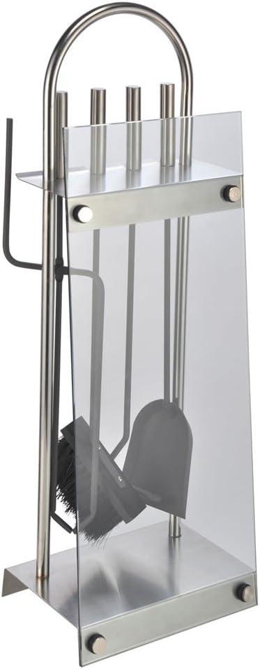 Moderni utensili da camino 5 Pz in acciaio inox di alta qualita/´e vetro 60191