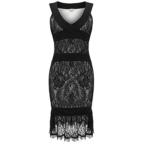 20d4e502baf45 80%OFF Meaneor Women Plus Size V-Neck Sleeveless Lace Patchwork Package Hip  Tank Dress